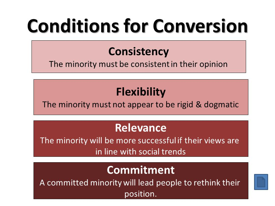 Conditions for Conversion Consistency The minority must be consistent in their opinion Flexibility The minority must not appear to be rigid & dogmatic
