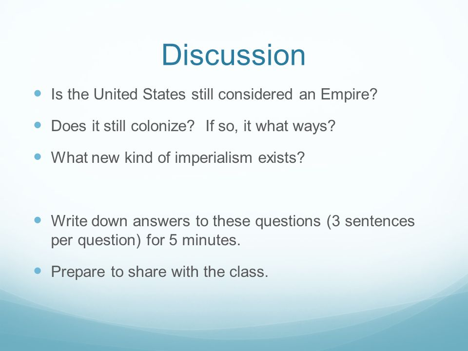 Discussion Is the United States still considered an Empire.