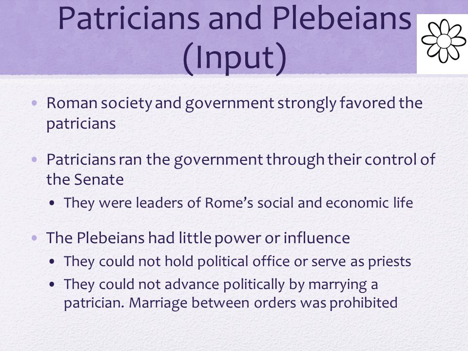 The Struggle of the Orders (Input) Before the rise of the Republic, Rome was divided into 2 main groups called orders One order was the patricians who