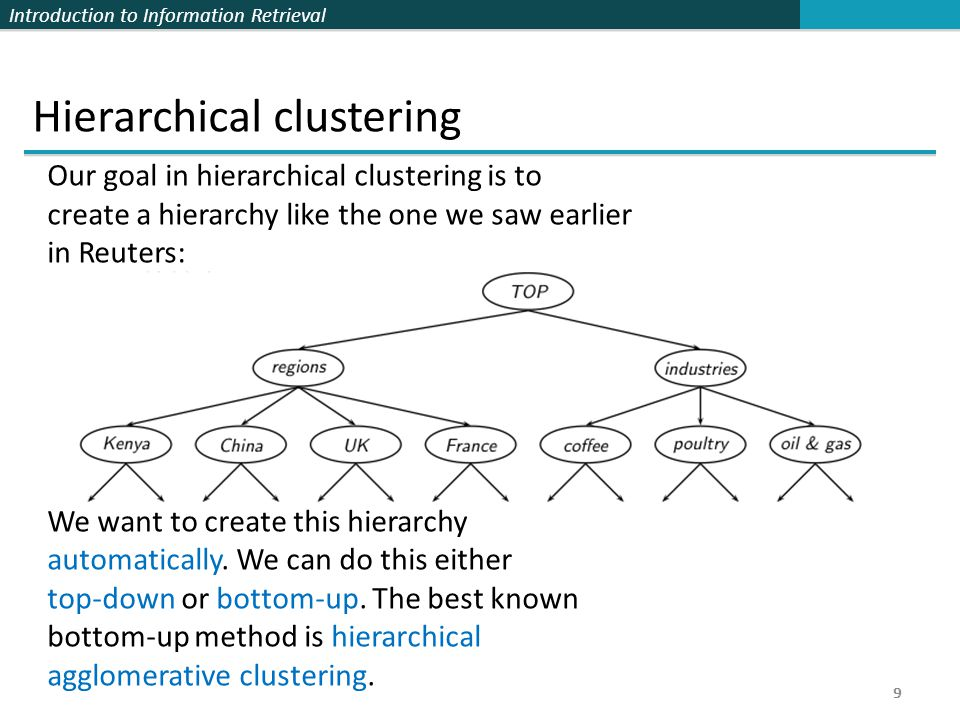 Introduction to Information Retrieval 9 Hierarchical clustering Our goal in hierarchical clustering is to create a hierarchy like the one we saw earlier in Reuters: We want to create this hierarchy automatically.