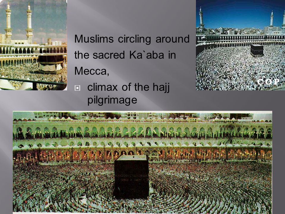 Muslims circling around the sacred Ka`aba in Mecca,  climax of the hajj pilgrimage