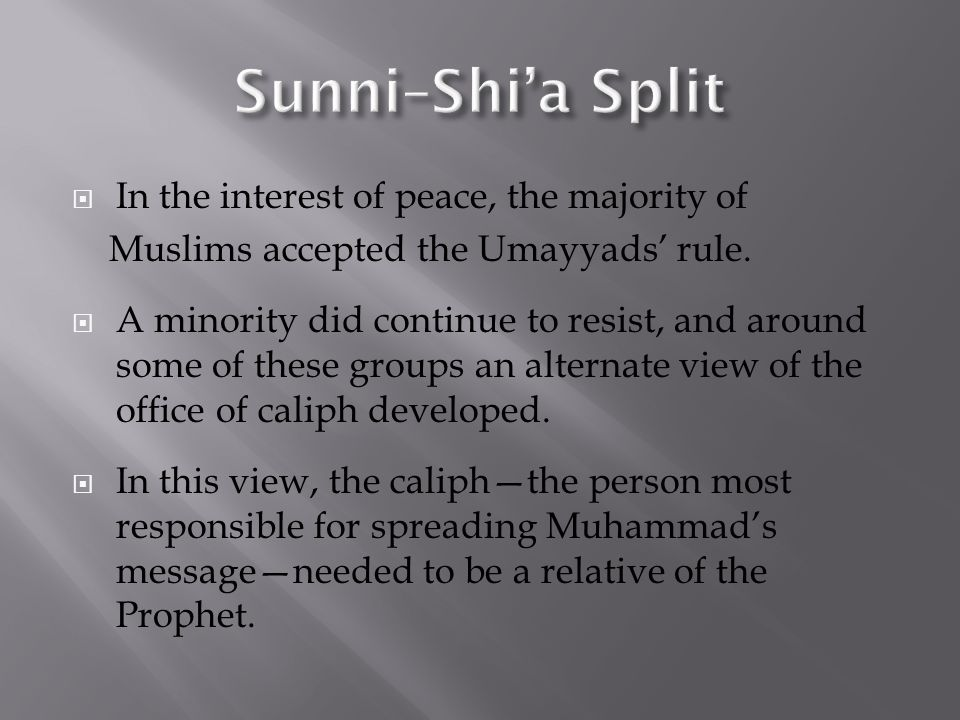  In the interest of peace, the majority of Muslims accepted the Umayyads' rule.