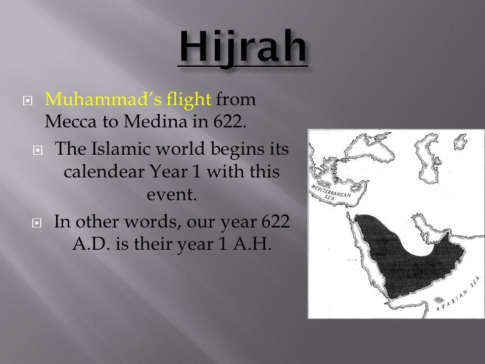  Muhammad's flight from Mecca to Medina in 622.