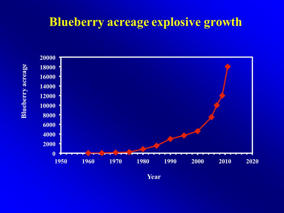 Georgia Blueberry Farm-gate Value YearValue (million $) 200022 200230 200448 200660 200875-80 201090-110 2012150 <