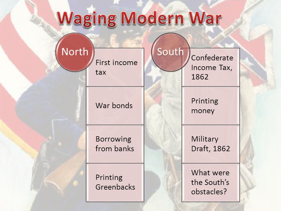 First income tax War bonds Borrowing from banks Printing Greenbacks North Confederate Income Tax, 1862 Printing money Military Draft, 1862 What were the South's obstacles.