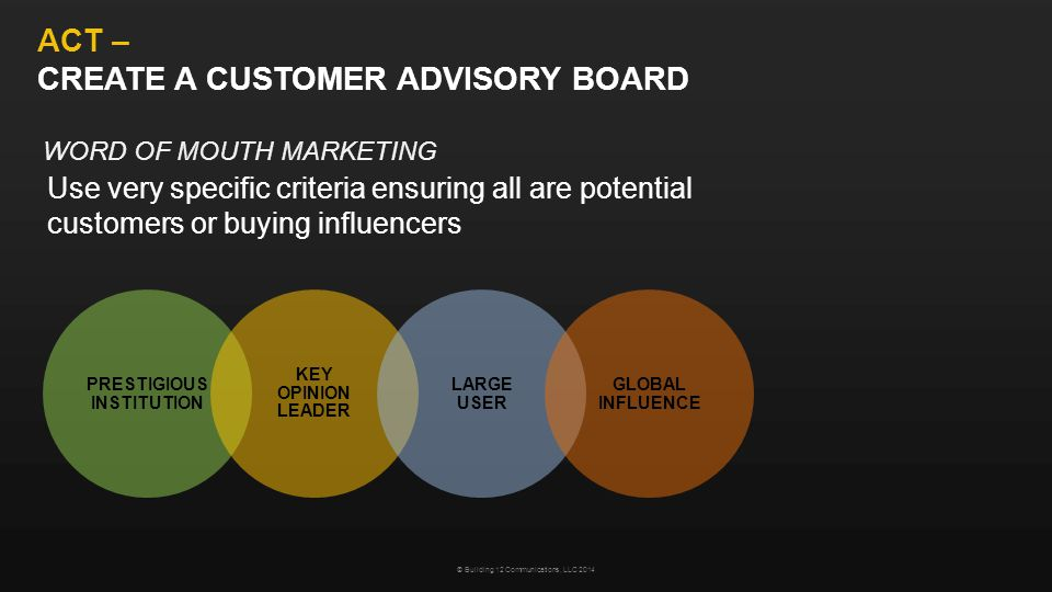 ACT – CREATE A CUSTOMER ADVISORY BOARD Use very specific criteria ensuring all are potential customers or buying influencers © Building 12 Communications, LLC 2014 PRESTIGIOUS INSTITUTION KEY OPINION LEADER LARGE USER GLOBAL INFLUENCE WORD OF MOUTH MARKETING