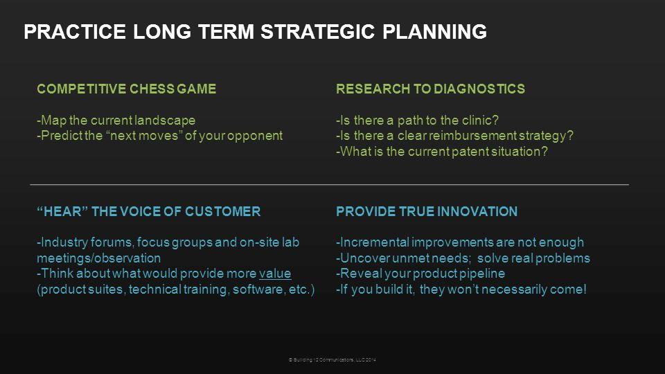 "PRACTICE LONG TERM STRATEGIC PLANNING COMPETITIVE CHESS GAME -Map the current landscape -Predict the ""next moves"" of your opponent RESEARCH TO DIAGNOS"