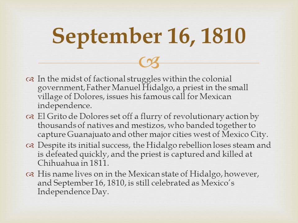   The Mexican Revolution begins when Madero issues the Plan of San Luis Potosí, promising democracy, federalism, agrarian reform and worker's rights and declaring war on the Díaz regime.