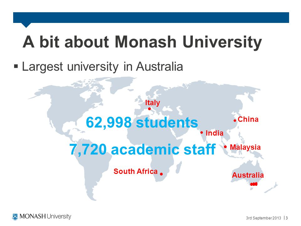  Largest university in Australia 3rd September 20133 A bit about Monash University 62,998 students 7,720 academic staff Australia Malaysia South Africa China India Italy