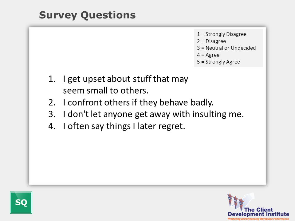 Survey Questions 1.I get upset about stuff that may seem small to others.