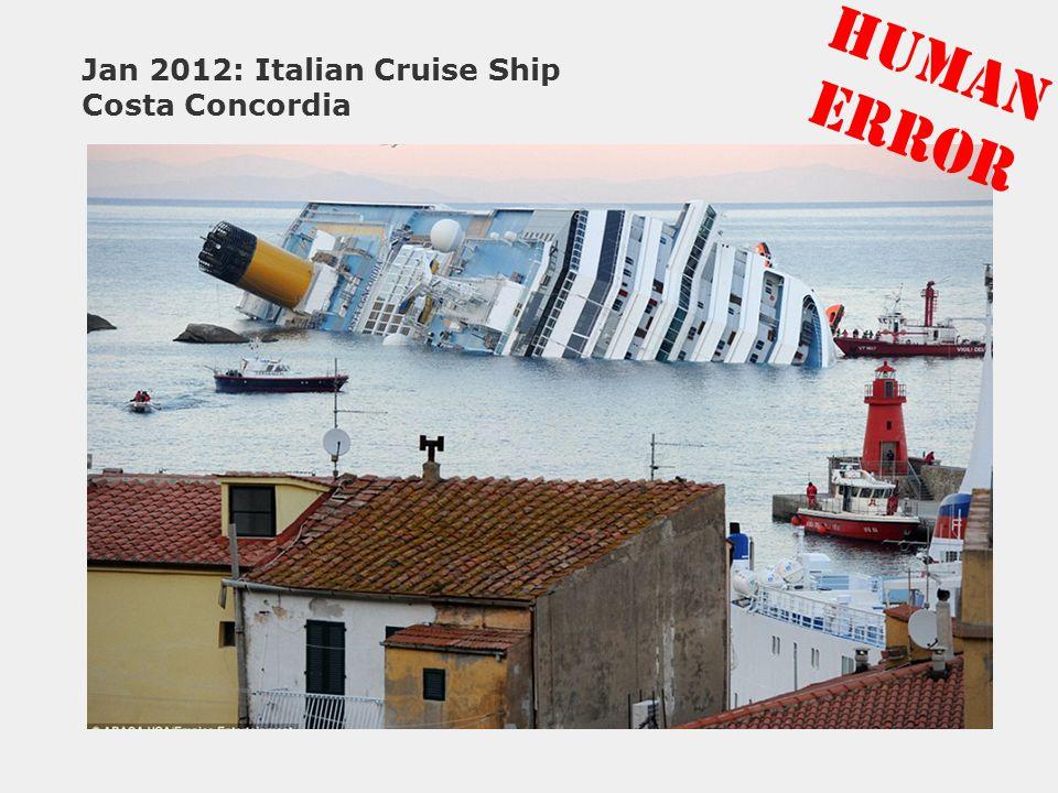 Jan 2012: Italian Cruise Ship Costa Concordia HUMAN ERROR