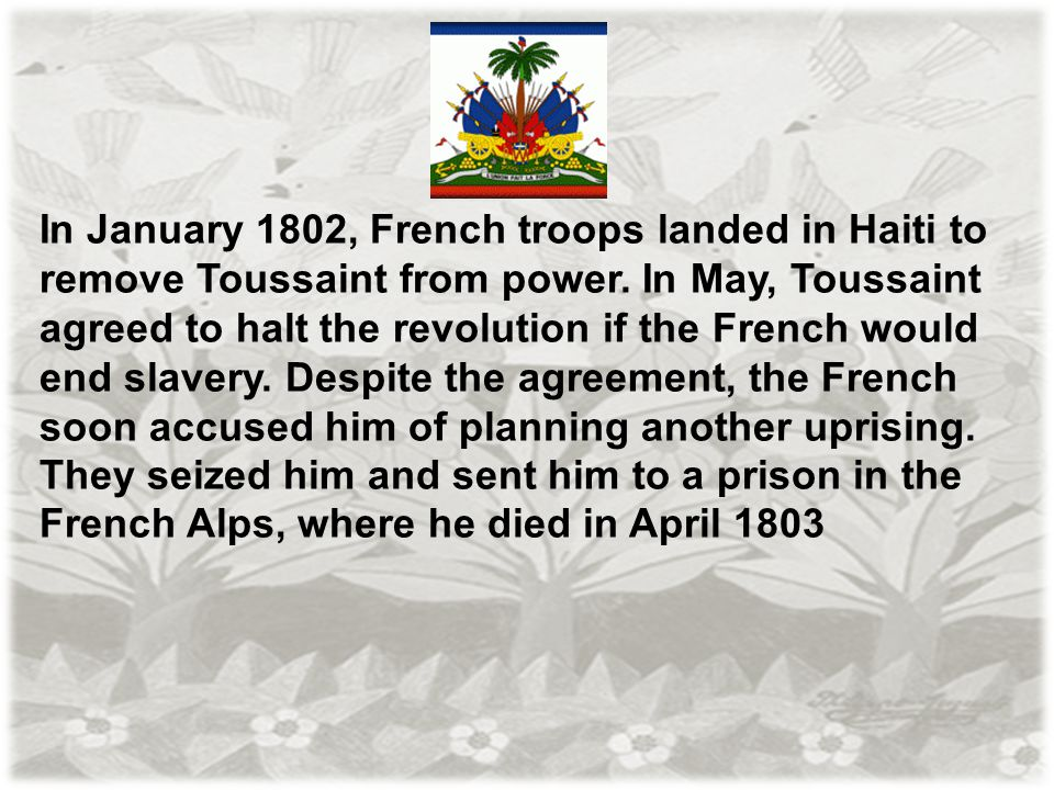 In January 1802, French troops landed in Haiti to remove Toussaint from power.