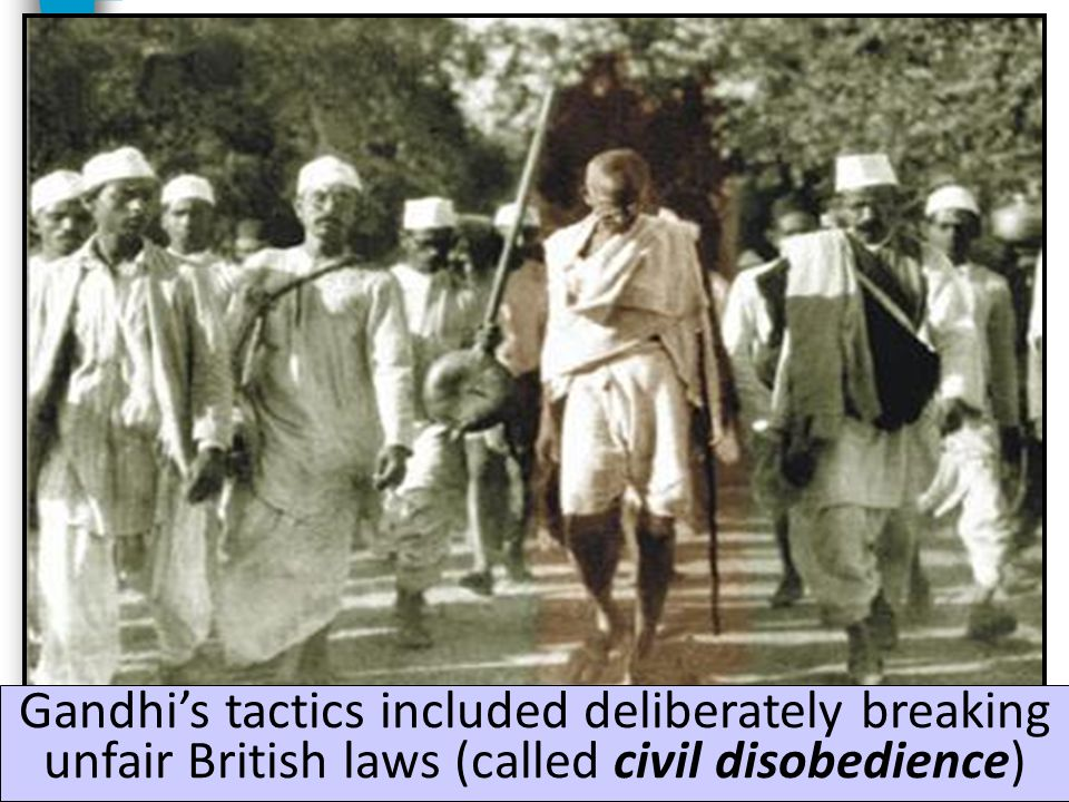 Gandhi urged Indians to use non- violent means to achieve their goals