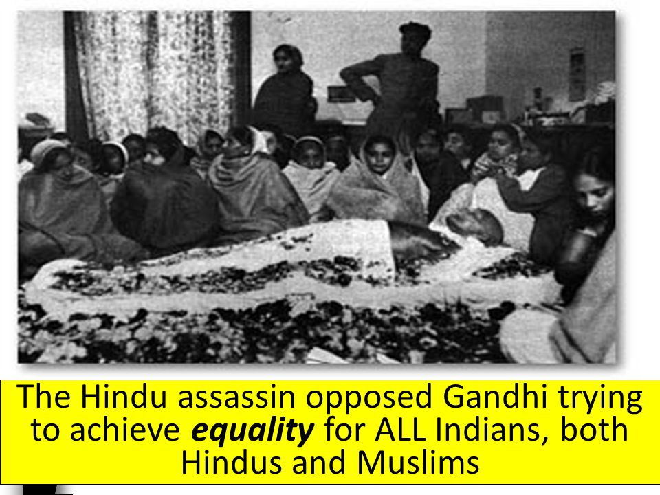 During the partition, ten million people relocated; violence broke out, leaving one million dead, including Gandhi; he was assassinated by a fellow Hindu in 1949