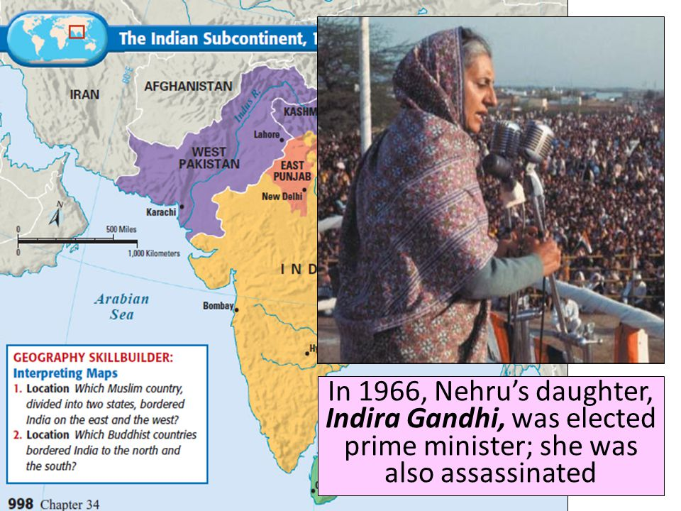 Title ■ Text In 1947, India became the world's most populated democratic nation; Jawaharlal Nehru was elected India's first prime minister Nehru emphasized democracy, unity, and modernizing India Under Nehru, women and lower caste Hindus gained rights In the Cold War, India was a leader among non-aligned nations