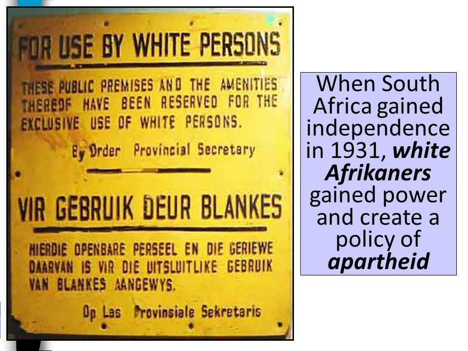Unlike Ghana, demands for independence in South Africa were led by descendants of white colonists