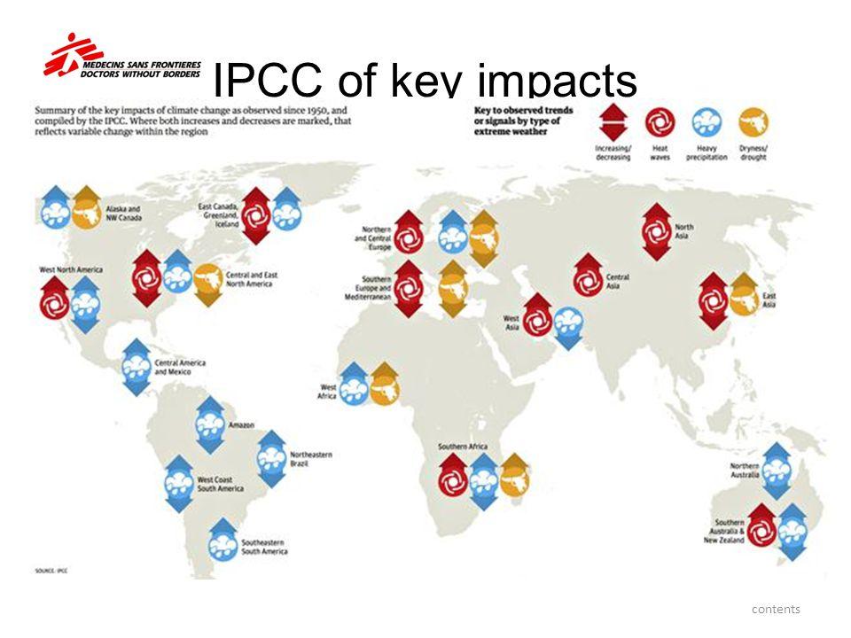IPCC of key impacts contents