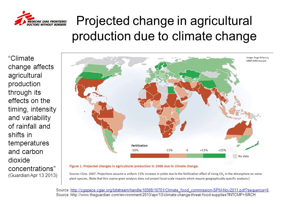 Projected change in agricultural production due to climate change Source: http://cgspace.cgiar.org/bitstream/handle/10568/10701/Climate_food_commissio
