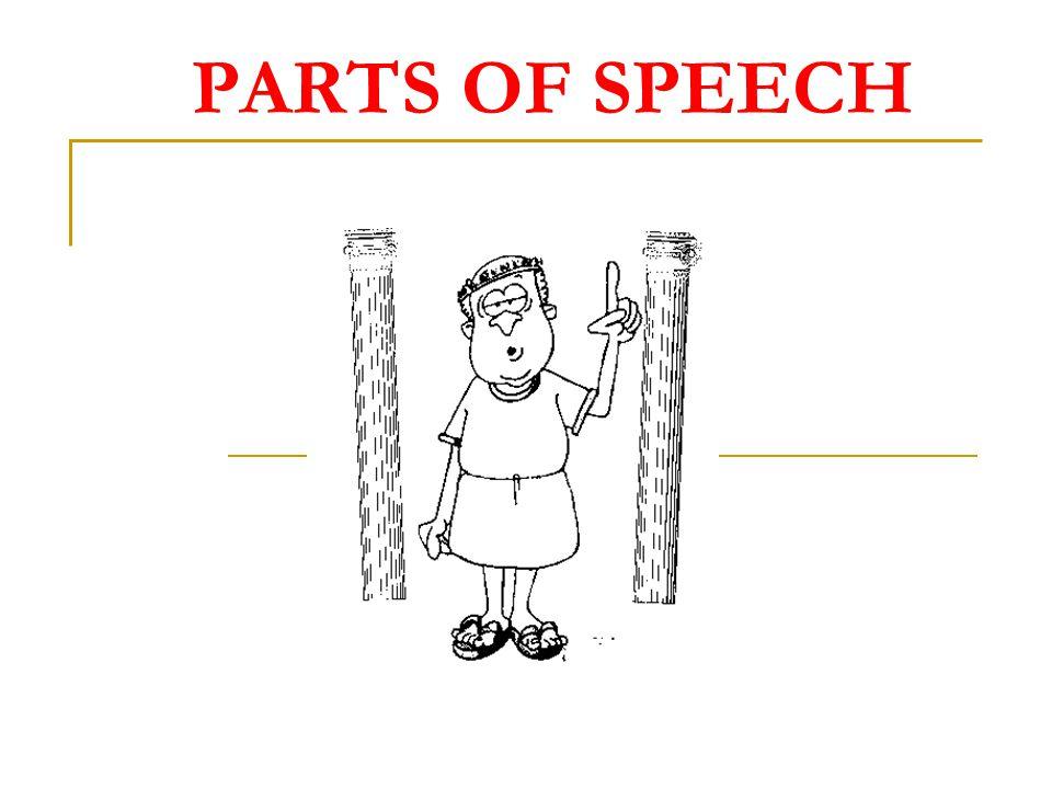 OPENCLOSED PARTS OF SPEECH NOUNSVERBSADJECTIVESADVERBS PREPOSITIONSCONJUNCTIONSDETERMINERSAUXILIARIES