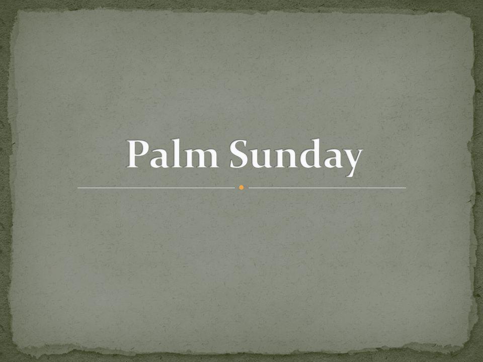 Jesus rides into Jerusalem on a donkey.Jesus is hailed as King.
