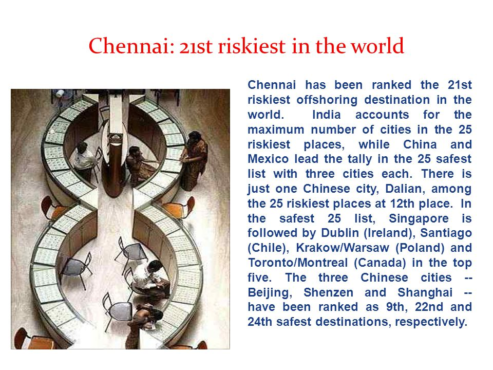 Chennai: 21st riskiest in the world Chennai has been ranked the 21st riskiest offshoring destination in the world. India accounts for the maximum numb