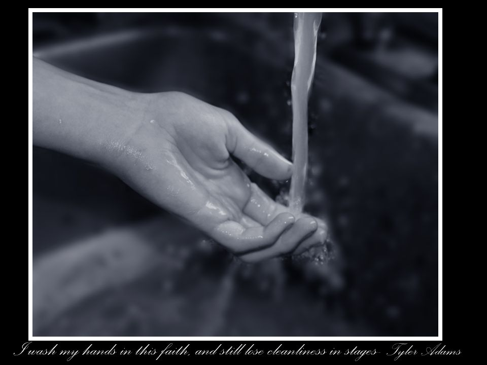 I wash my hands in this faith, and still lose cleanliness in stages- Tyler Adams