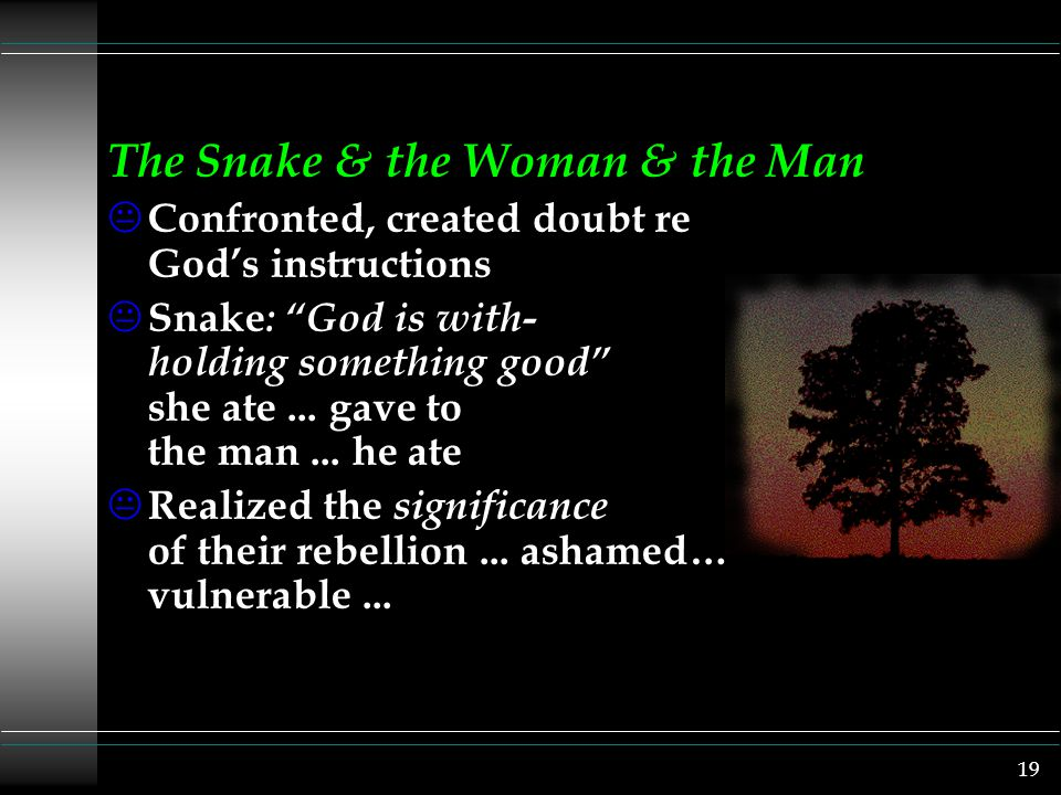 19 The Snake & the Woman & the Man K Confronted, created doubt re God's instructions K Snake : God is with- holding something good she ate...