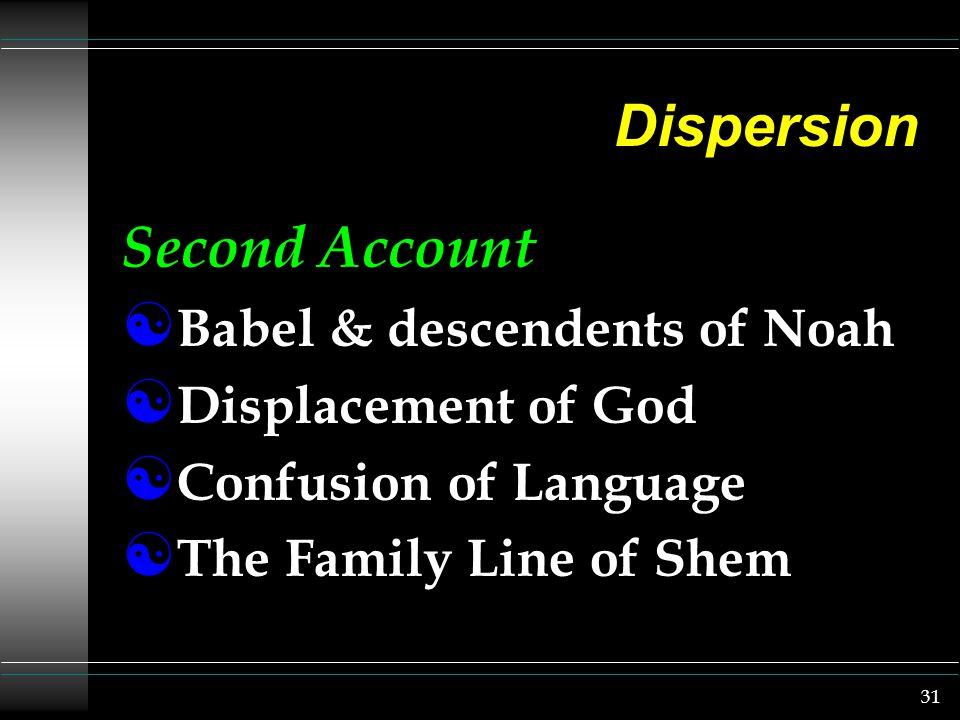 31 Dispersion Second Account [ Babel & descendents of Noah [ Displacement of God [ Confusion of Language [ The Family Line of Shem