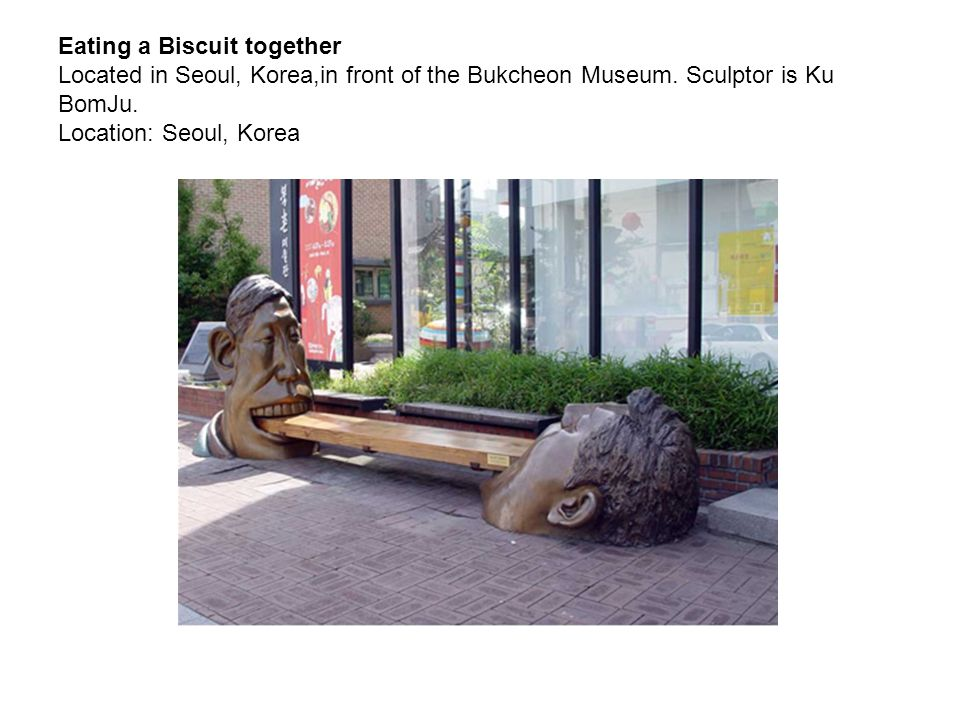 Eating a Biscuit together Located in Seoul, Korea,in front of the Bukcheon Museum. Sculptor is Ku BomJu. Location: Seoul, Korea