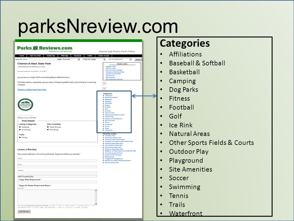 parksNreview.com Categories Affiliations Baseball & Softball Basketball Camping Dog Parks Fitness Football Golf Ice Rink Natural Areas Other Sports Fi