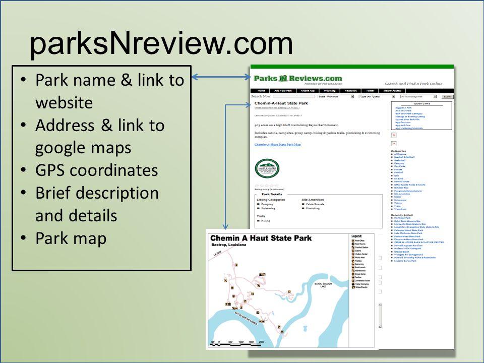 parksNreview.com Park name & link to website Address & link to google maps GPS coordinates Brief description and details Park map