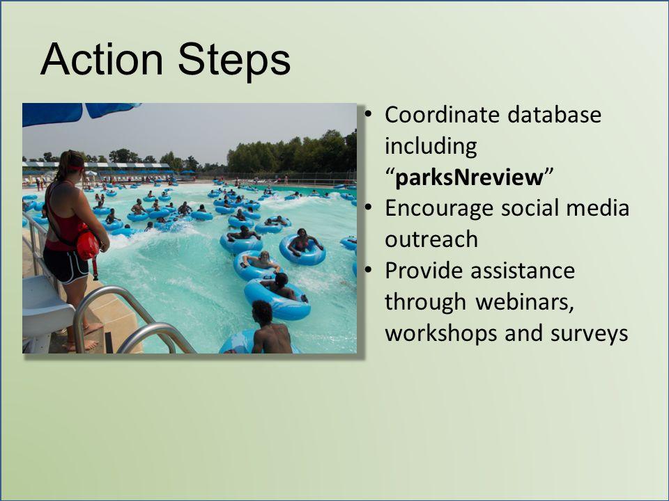Action Steps Coordinate database including parksNreview Encourage social media outreach Provide assistance through webinars, workshops and surveys