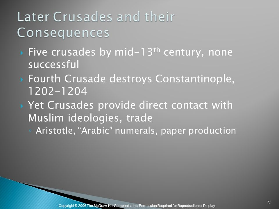 Copyright © 2006 The McGraw-Hill Companies Inc. Permission Required for Reproduction or Display.  Five crusades by mid-13 th century, none successful