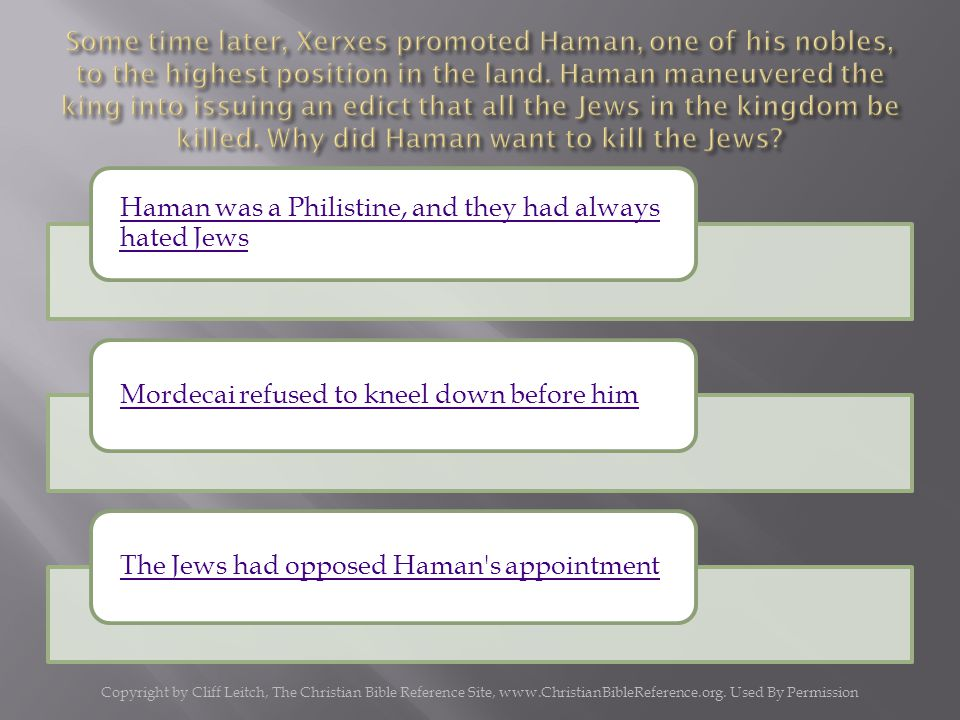 Haman was a Philistine, and they had always hated Jews Mordecai refused to kneel down before himThe Jews had opposed Haman s appointment Copyright by Cliff Leitch, The Christian Bible Reference Site, www.ChristianBibleReference.org.