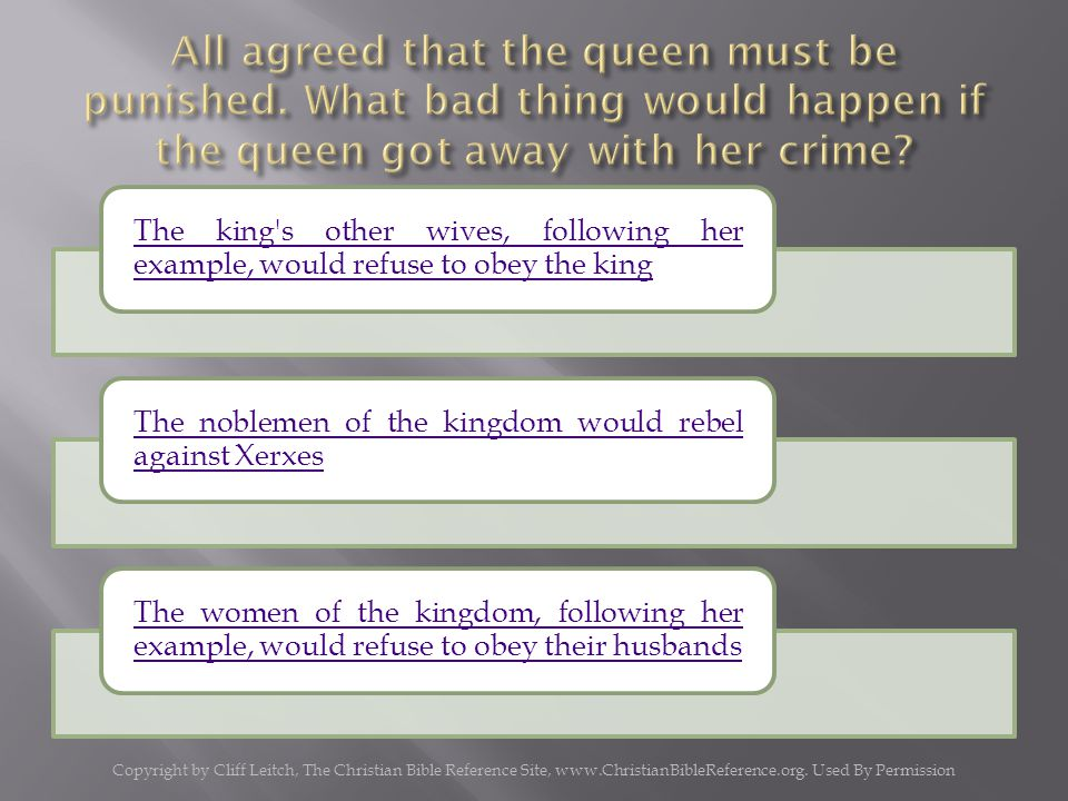 The king s other wives, following her example, would refuse to obey the king The noblemen of the kingdom would rebel against Xerxes The women of the kingdom, following her example, would refuse to obey their husbands Copyright by Cliff Leitch, The Christian Bible Reference Site, www.ChristianBibleReference.org.