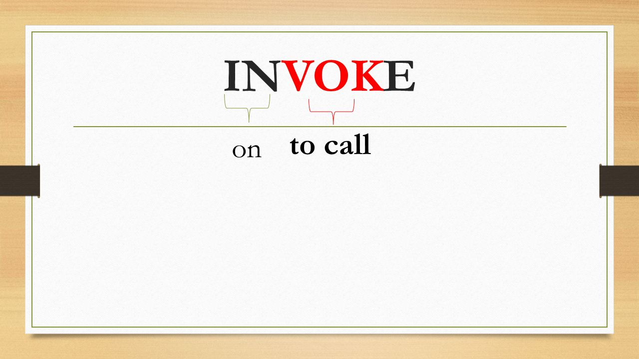 on INVOKE to call
