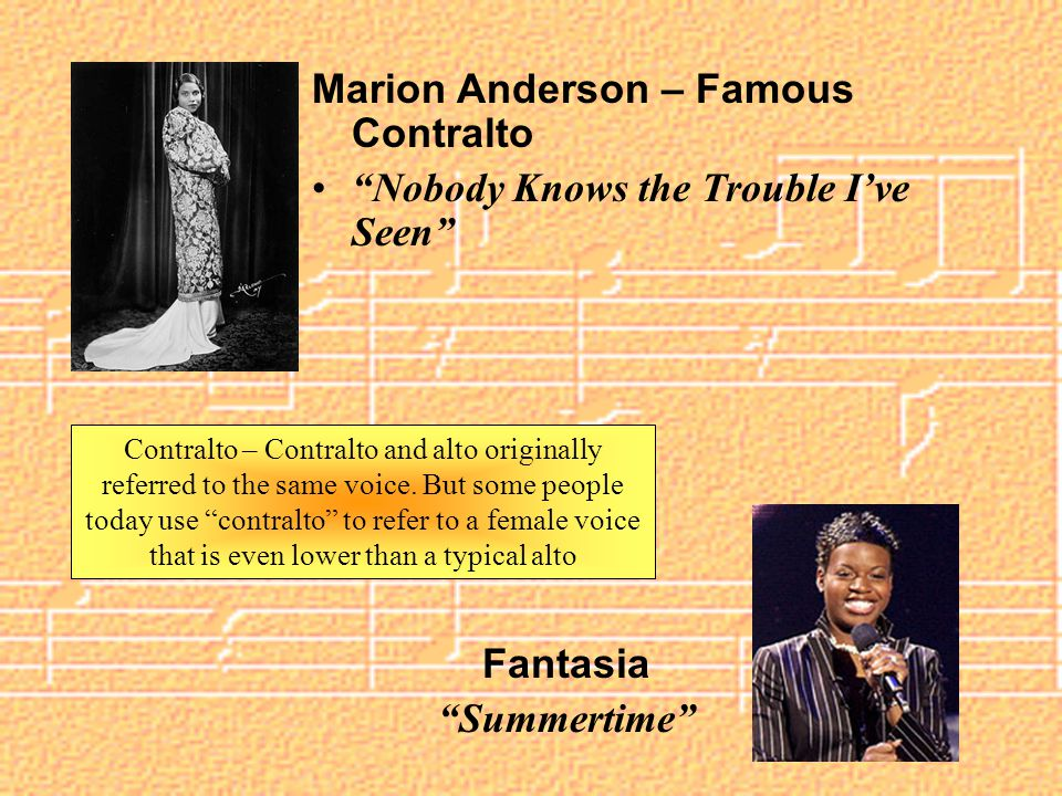 Contralto – Contralto and alto originally referred to the same voice.
