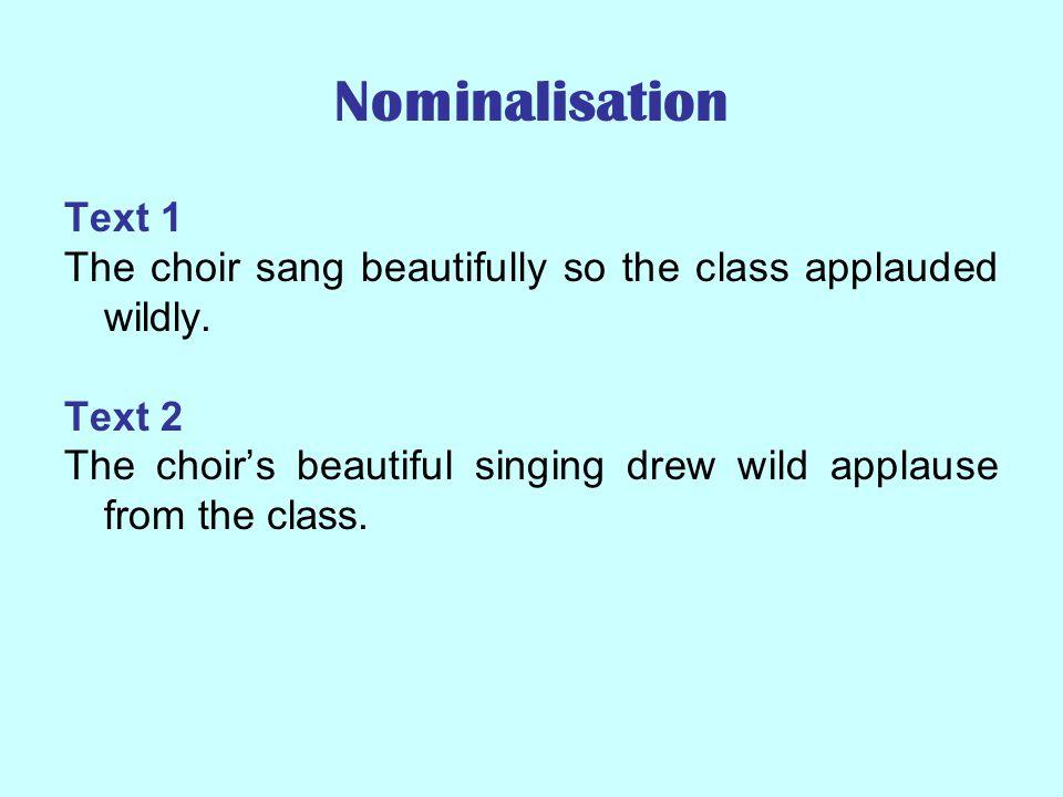 Nominalisation adjectiveadverbverbnoun prettybeauty quietlysilence evaporateevaporation