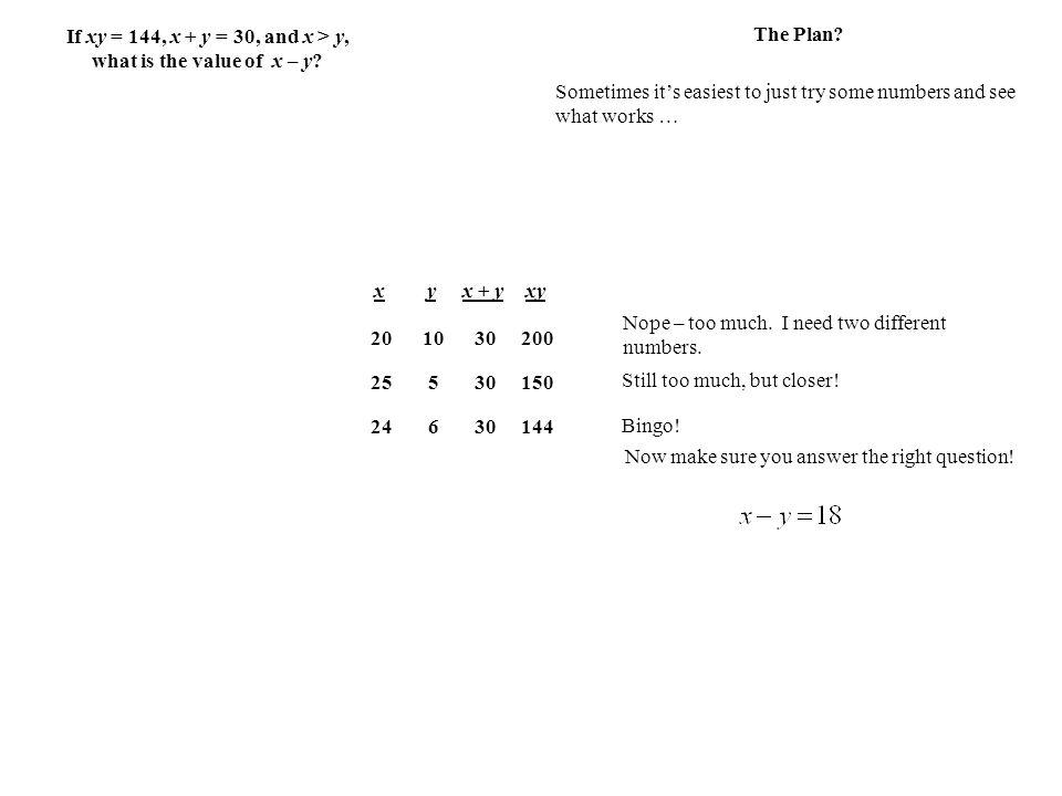 If xy = 144, x + y = 30, and x > y, what is the value of x – y.