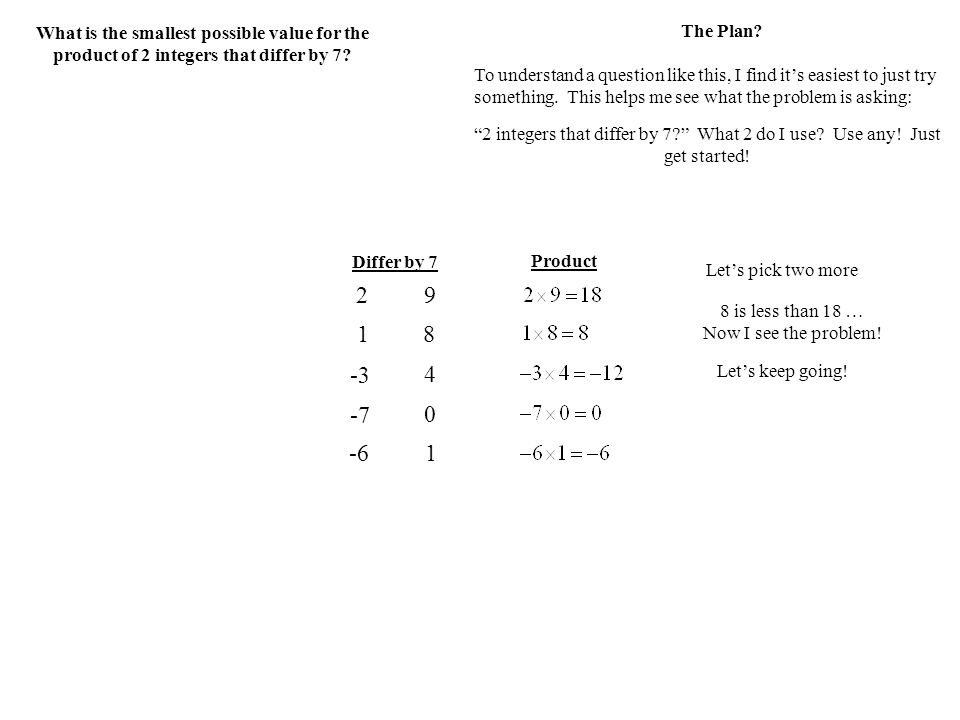 What is the smallest possible value for the product of 2 integers that differ by 7.