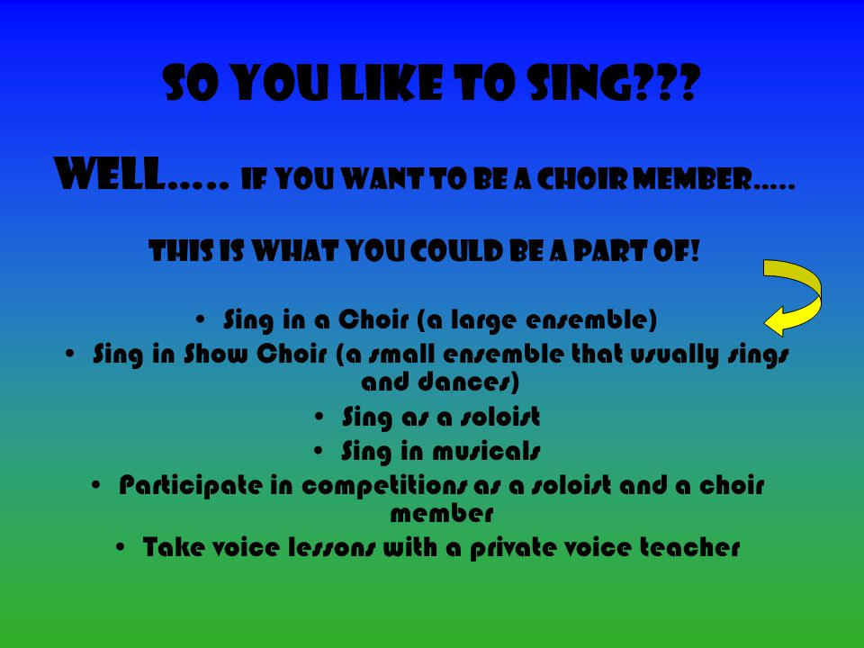 So You Like to Sing??. Well….. If you want to be a choir member…..