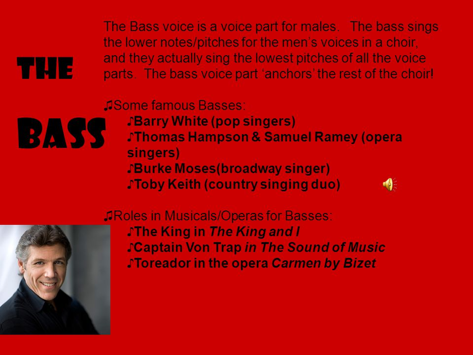 The Bass The Bass voice is a voice part for males.