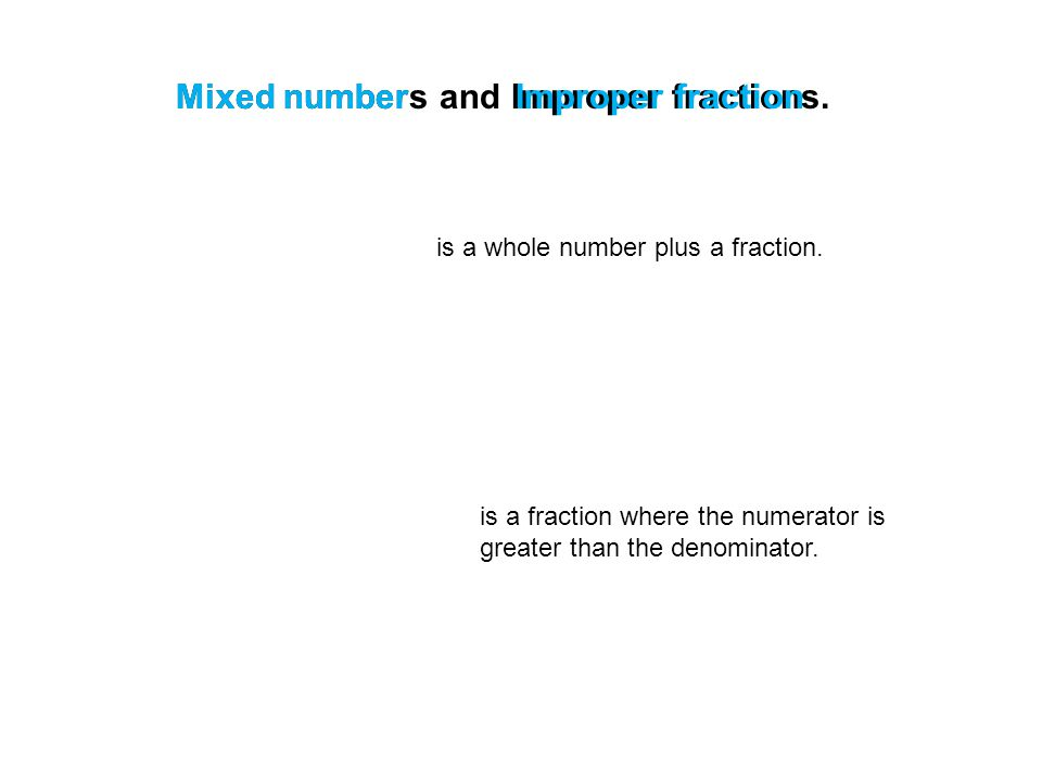 Mixed numbers and Improper fractions.