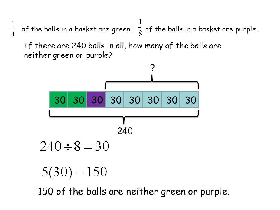 of the balls in a basket are green.of the balls in a basket are purple.