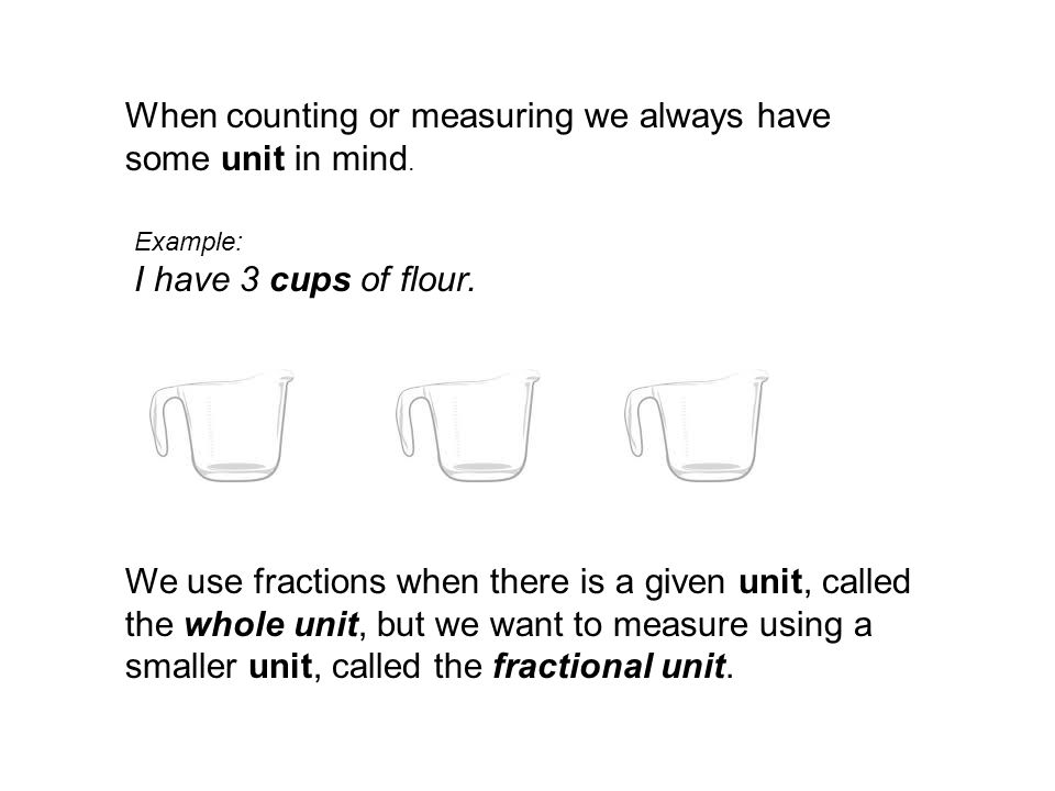When counting or measuring we always have some unit in mind.