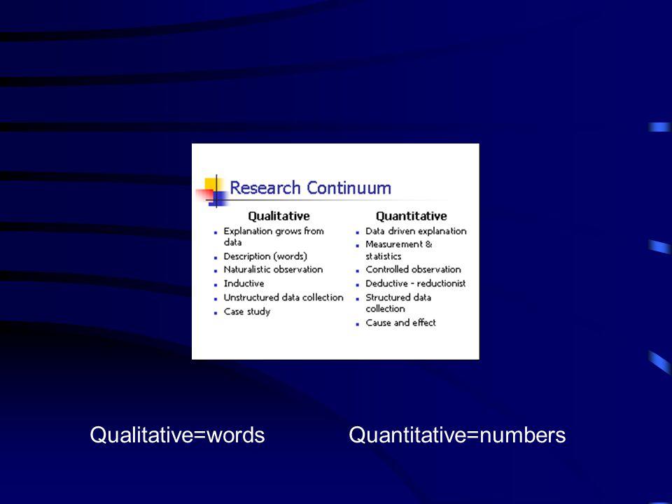 Qualitative=words Quantitative=numbers