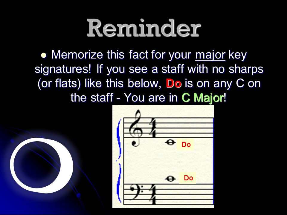 Reminder Memorize this fact for your major key signatures! If you see a staff with no sharps (or flats) like this below, Do is on any C on the staff -