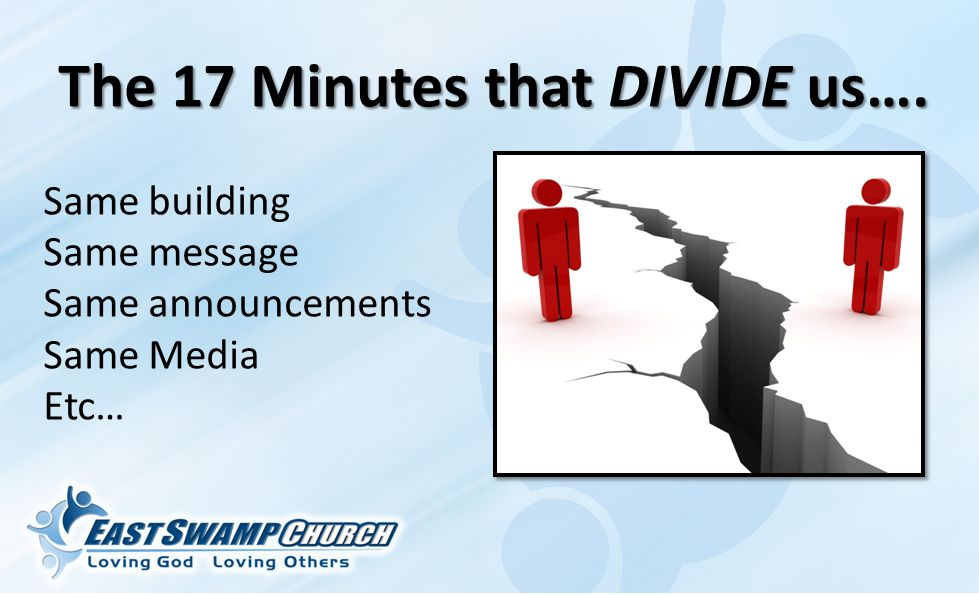 The 17 Minutes that DIVIDE us…. Same building Same message Same announcements Same Media Etc…