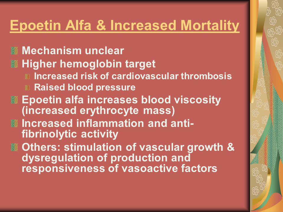 Epoetin Alfa & Increased Mortality Mechanism unclear Higher hemoglobin target Increased risk of cardiovascular thrombosis Raised blood pressure Epoetin alfa increases blood viscosity (increased erythrocyte mass) Increased inflammation and anti- fibrinolytic activity Others: stimulation of vascular growth & dysregulation of production and responsiveness of vasoactive factors