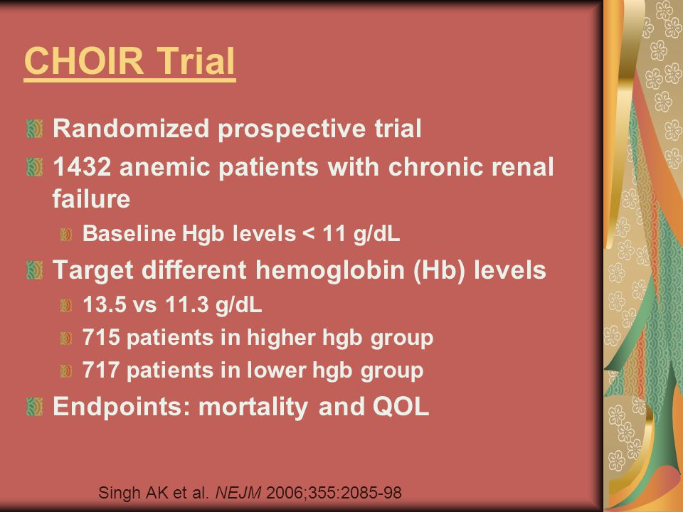 CHOIR Trial Randomized prospective trial 1432 anemic patients with chronic renal failure Baseline Hgb levels < 11 g/dL Target different hemoglobin (Hb) levels 13.5 vs 11.3 g/dL 715 patients in higher hgb group 717 patients in lower hgb group Endpoints: mortality and QOL Singh AK et al.